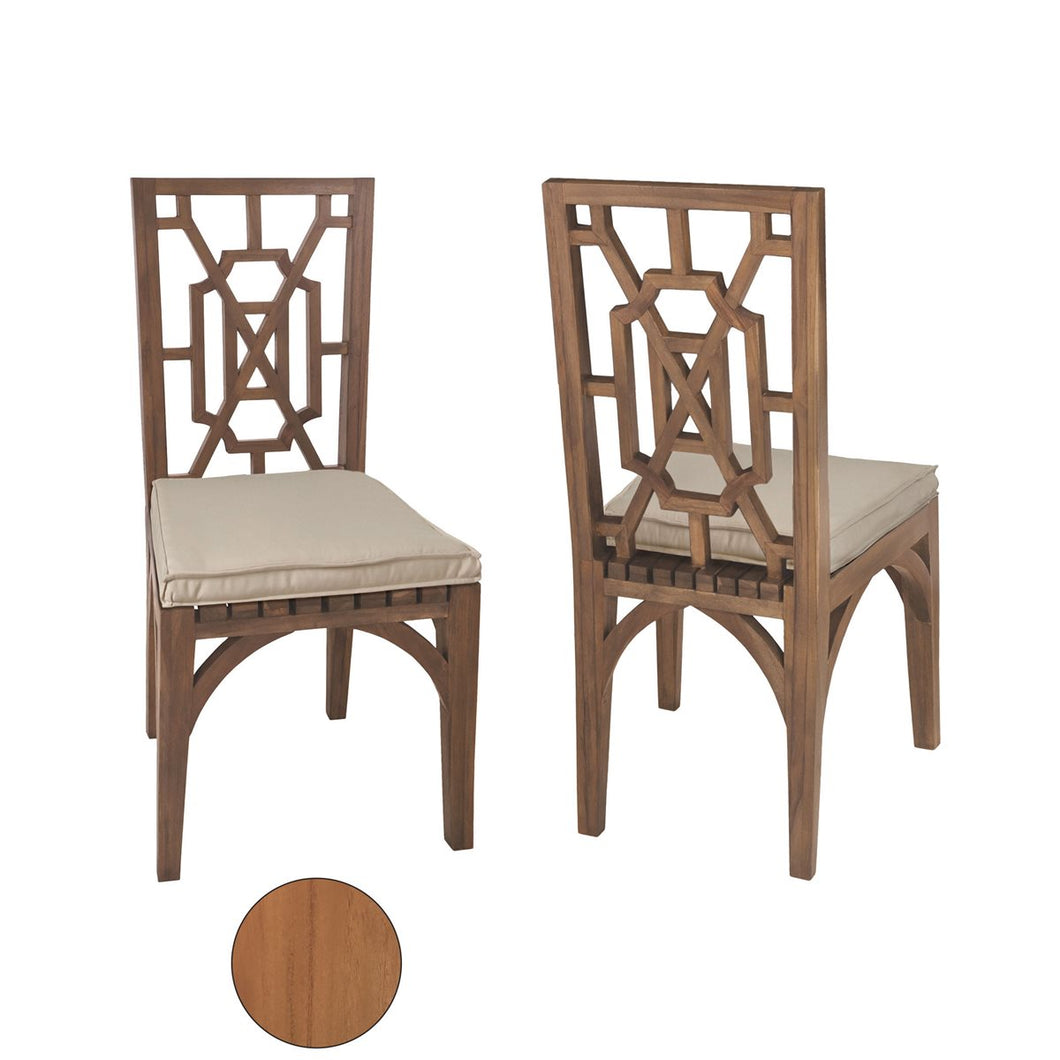 Teak Indoor Outdoor Chineses Chippendale Dining Chairs Set with Euro Teak Oil Finish - Home Again Palm Beach