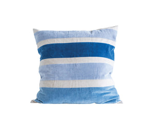 Square Cotton Chambray Pillow with Blue Velvet Stripes - Home Again Palm Beach