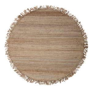 Round Handwoven Brown Jute Rug with Fringe - Home Again Palm Beach