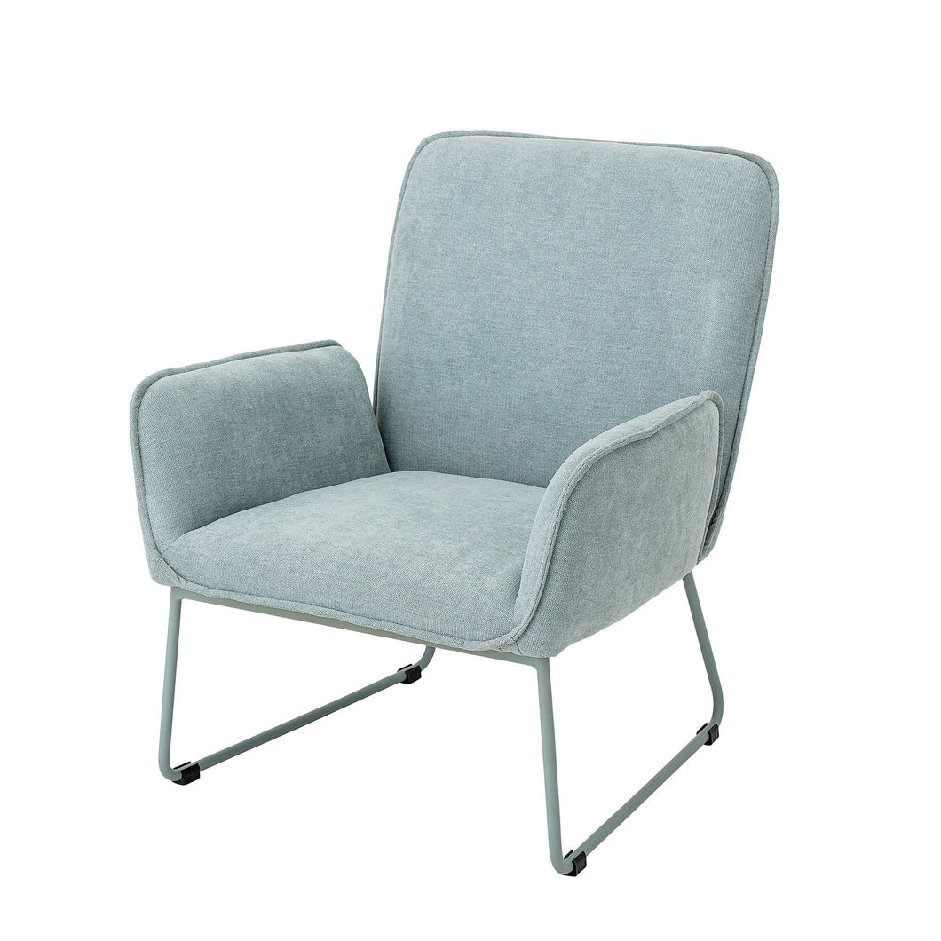 Mint Green Upholstered Chair with Matching Powder Coated Metal Legs - Home Again Palm Beach