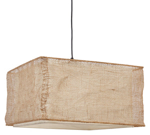 Rectangle Jute & Cotton Blend Pendant Light - Home Again Palm Beach