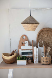 Round Cotton Velvet & Rattan Pendant Light - Home Again Palm Beach