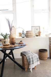 Water Hyacinth & Rattan Stool with Wood Legs - Home Again Palm Beach