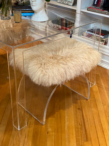 World's Away Marlowe Mongolian Fur Acrylic Bench Seat