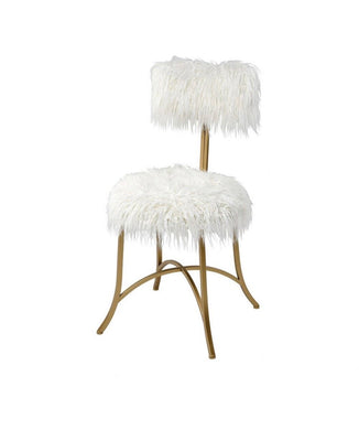 Faux Mohair Fur Chair with Gold Legs
