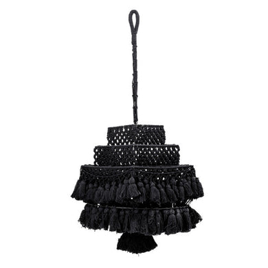Square Handwoven Black Cotton Macramé Canopy with Tassels - Home Again Palm Beach