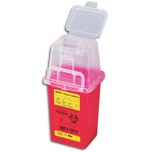 BD™ 1.5 Quart Red Phlebotomy Sharps Container 1-Piece Vertical Entry Lid