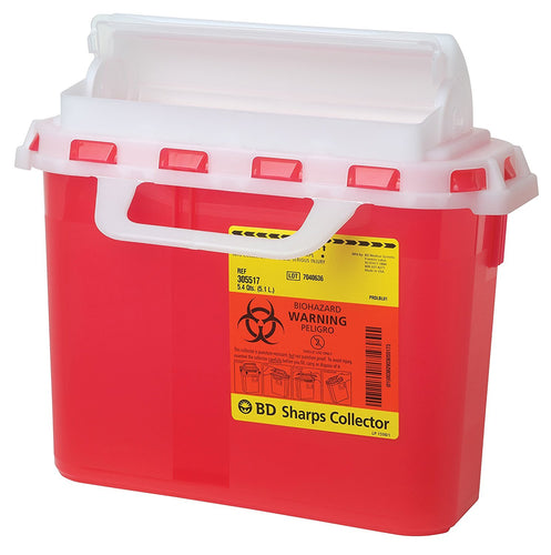BD™ 5.4 Quart Red Multi-purpose Sharps Container 1-Piece Horizontal Entry Lid