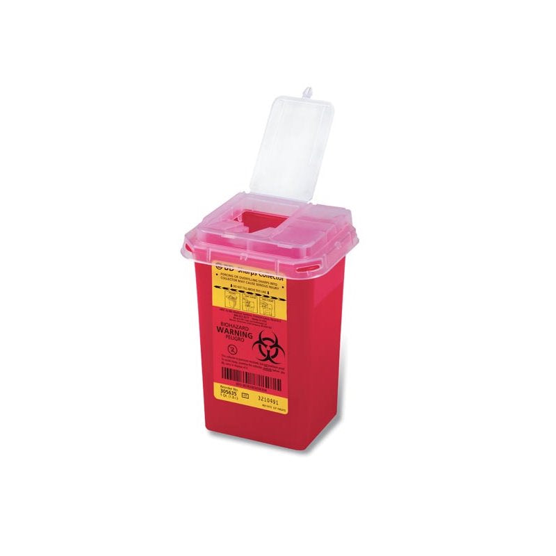 BD™ Multi-purpose Sharps Container 1 Quart Red Base Flip-Top Lid