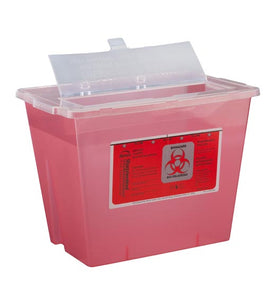Bemis 2 Gallon Red Phlebotomy Sharps Container Sentinel 1-Piece Vertical Entry Lid