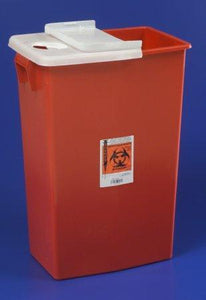 Cardinal™ 18 Gallon Red Multi-purpose Sharps Container SharpSafety™ 1-Piece Hinged Lid