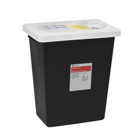 Covidien™ 12 Gallon Black RCRA Waste Container SharpSafety™ Hinged Lid