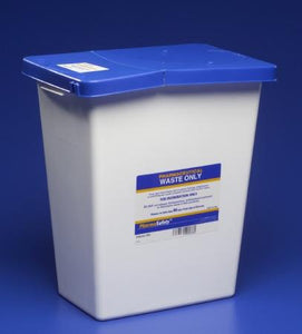 Covidien™ 12 Gallon Blue Pharmaceutical Waste Container PharmaSafety™ Nestable Hinged Lid