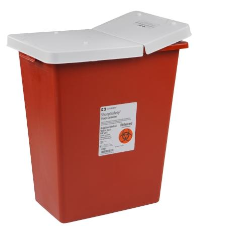 Covidien™ 12 Gallon Red Multi-purpose Sharps Container SharpSafety™ 1-Piece Hinged Lid