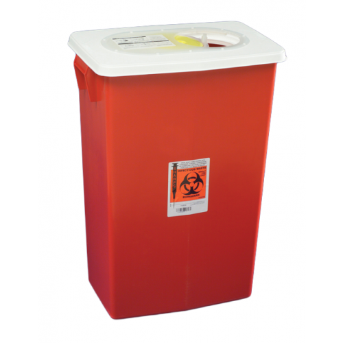 Covidien™ 12 Gallon Red Multi-purpose Sharps Container SharpSafety™ 1-Piece Sliding Lid