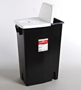 Covidien™ 18 Gallon Black RCRA Waste Container SharpSafety™ Hinged Lid