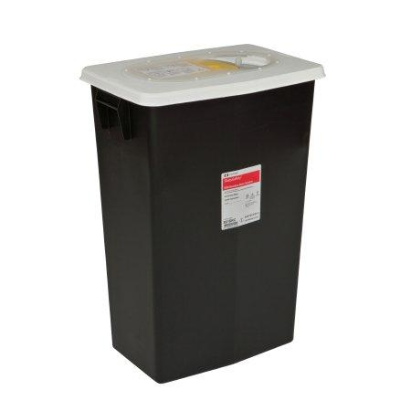 Covidien™ 18 Gallon Black RCRA Waste Container SharpSafety™ Sliding Lid