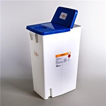 Covidien™ 18 Gallon Blue Pharmaceutical Waste Container PharmaSafety™ Nestable Hinged Lid