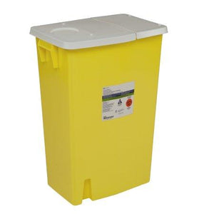 Covidien™ 18 Gallon Yellow Chemotherapy Sharps Container SharpSafety™ 1-Piece Hinged Lid