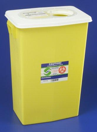 Covidien™ 18 Gallon Yellow Chemotherapy Waste Container SharpSafety™ Gasketed Sliding Lid