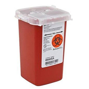 Covidien™ 1 Quart Red Phlebotomy Sharps Container SharpSafety™ Vertical Entry Lid