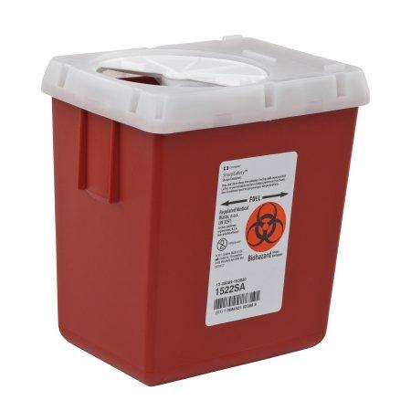 Covidien™ 2.2 Quart Red Phlebotomy Sharps Container AutoDrop™ 1-Piece Vertical Entry Lid