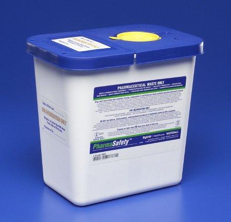 Covidien™ 2 Gallon Blue Pharmaceutical Waste Container PharmaSafety™ Nestable Vertical Entry Hinged Lid