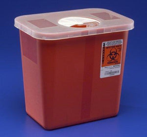 Covidien™ 2 Gallon Red Multi-purpose Sharps Container SharpSafety™ 1-Piece Rotor Lid