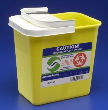Covidien™ 2 Gallon Yellow Chemotherapy Sharps Container SharpSafety™ 1-Piece Hinged Lid