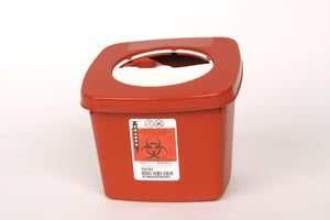 Covidien™ 2 Quart Red Multi-purpose Sharps Container SharpSafety™ Nestable Vertical Entry Rotor Lid