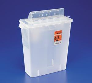 Covidien™ 3 Gallon Clear Multi-purpose Sharps Container In-Room™ 1-Piece Horizontal Entry Lid