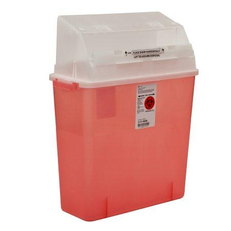 Covidien™ 3 Gallon Red Multi-purpose Sharps Container GatorGuard™ 1-Piece Horizontal Entry Lid