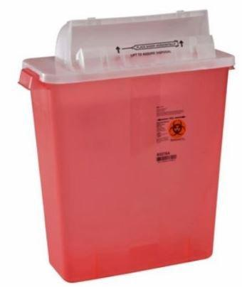 Covidien™ 3 Gallon Red Multi-purpose Sharps Container In-Room™ 1-Piece Horizontal Entry Lid