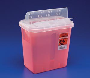 Covidien™ 3 Gallon Red Sharps Container In-Room™ 1-Piece Horizontal Entry Lid