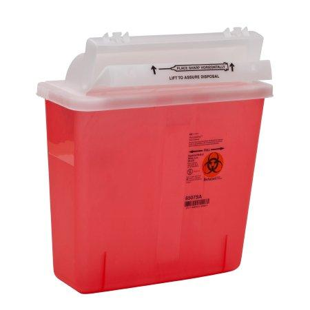 Covidien™ 5 Quart Red Multi-purpose Sharps Container SharpStar™ 1-Piece Translucent Horizontal Entry Lid