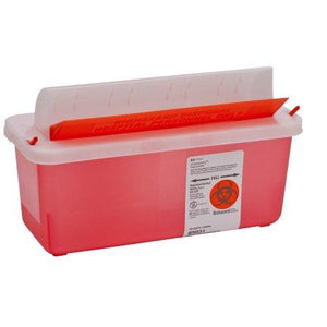 Covidien™ 5 Quart Red Multi-purpose Sharps Container In-Room™ 1-Piece Horizontal Entry Lid