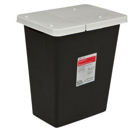 Covidien™ 8 Gallon Black RCRA Waste Container SharpSafety™ Hinged Lid