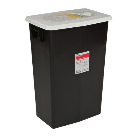 Covidien™ 8 Gallon Black RCRA Waste Container SharpSafety™ Sliding Lid