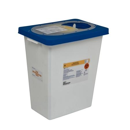 Covidien™ 8 Gallon Blue Pharmaceutical Waste Container PharmaSafety™ Nestable Vertical Entry Sliding Lid