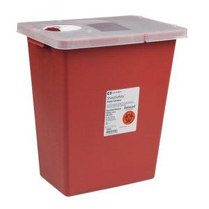 Covidien™ 8 Gallon Red Multi-purpose Sharps Container SharpSafety™ 1-Piece Hinged Lid
