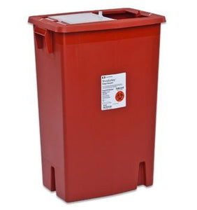 Covidien™ 8 Gallon Red Multi-purpose Sharps Container SharpSafety™ 1-Piece  Sliding Lid