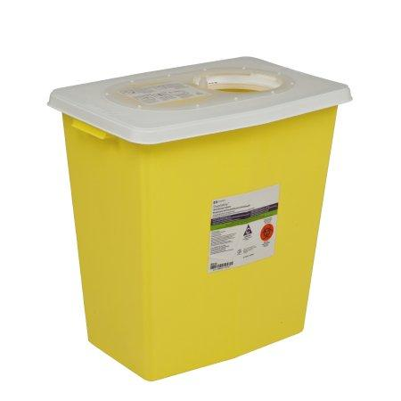 Covidien™ 8 Gallon Yellow Chemotherapy Sharps Container SharpSafety™ 1-Piece Hinged Lid
