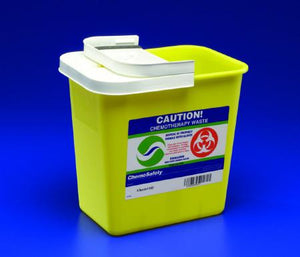 Covidien™ 8 Gallon Yellow Chemotherapy Sharps Container SharpSafety™ 1-Piece Sliding Lid