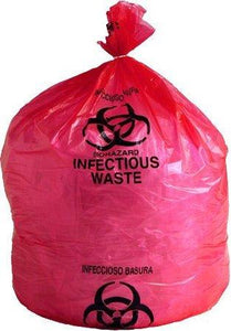 "Infectious Waste Bag Red 24"" x 33"" 15 Gallon"