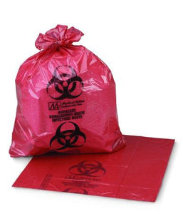 "Biohazard Waste Bag Red 55"" x 60"" 60 Gallon"