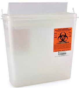 McKesson™ 5 Quart Clear Sharps Container Prevent® 2-Piece Horizontal Entry Lid