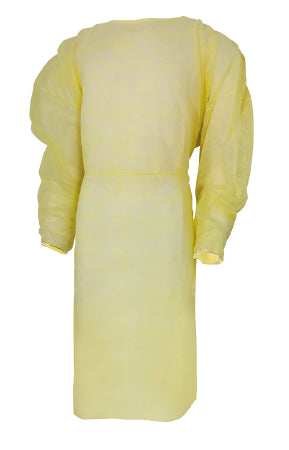 Protective Procedure Gown Adult One Size Fits Most Yellow NonSterile 50% Cotton/50% Polyester