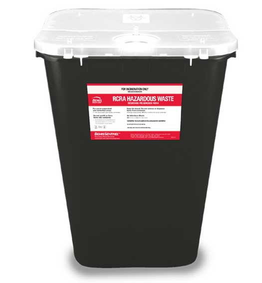 RCRA Waste Container Bemis™ Sentinel 15-7/8 H X 16-1/2 L X 11-13/16 W Inch 11 Gallon Black Base / White Lid Hinged Lid / with Gasket