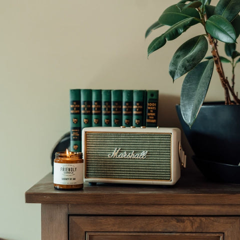 jar candle next to marshall amplifier