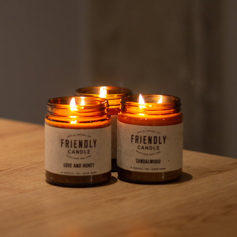 three candles from friendly candle